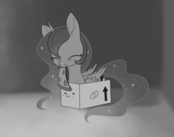 Size: 1474x1160 | Tagged: alicorn, artist:dusthiel, behaving like a cat, blushing, box, food, grayscale, if i fits i sits, inktober, meat, monochrome, pepperoni, pepperoni pizza, pizza, pony, pony in a box, princess luna, safe, solo