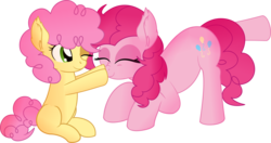 Size: 10000x5265   Tagged: safe, artist:cyanlightning, li'l cheese, pinkie pie, earth pony, pony, the last problem, .svg available, absurd resolution, alternate hairstyle, boop, colt, cute, diapinkes, female, happy, li'l cuteese, male, mare, mlp fim's ninth anniversary, mother and son, scrunchy face, simple background, smiling, transparent background, vector