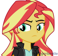 Size: 911x878 | Tagged: safe, artist:tigerbeetle, sunset shimmer, human, equestria girls, equestria girls series, my past is not today, clothes, decision, jacket, lightly watermarked, look back, looking down, serious, serious face, simple background, solo, sunset shimmer is not amused, transparent background, unamused, watermark