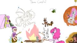 Size: 1920x1080   Tagged: safe, artist:fluffyxai, artist:huffylime, artist:jennithedragon, artist:laptopdj, artist:m3g4p0n1, angel bunny, cozy glow, fluttershy, pinkie pie, oc, oc:earthen spark, bat pony, deer, earth pony, kirin, pegasus, pony, campfire, drawpile, drawpile disasters, food, marshmallow, mlpds