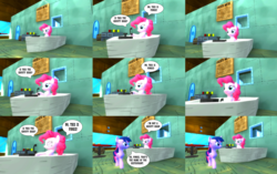 Size: 5024x3149   Tagged: safe, artist:eli-j-brony, pinkie pie, twilight sparkle, pony, 3d, big pink loser, gmod, krusty krab, spongebob squarepants