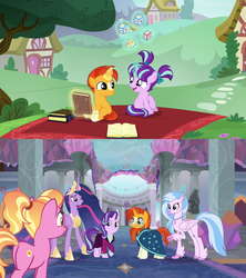Size: 1280x1440 | Tagged: alicorn, book, colt sunburst, female, filly, filly starlight, friendship, full circle, headmare starlight, heartwarming, luster dawn, not shipping, older starlight glimmer, older sunburst, ponyville, safe, school of friendship, screencap, silverstream, sire's hollow, spoiler:s09e26, starlight glimmer, sunburst, the crystalling, the cutie re-mark, the last problem, the magic of friendship grows, then and now, twilight sparkle, twilight sparkle (alicorn), younger