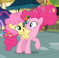 Size: 670x658 | Tagged: alicorn, animation error, bags under eyes, colt, cropped, duo focus, earth pony, female, food, hoof shoes, li'l cheese, looking at each other, male, mare, mother and son, older, older pinkie pie, pinkie pie, princess twilight 2.0, raised hoof, rubber duck, safe, screencap, spoiler:s09e26, sprinkles, the last problem, time skip, twilight sparkle, twilight sparkle (alicorn)