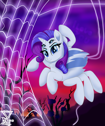 Size: 3990x4788 | Tagged: artist:theretroart88, female, four eyes, halloween, holiday, horn, monster mare, monster pony, multiple eyes, original species, rarirachnid, rarity, safe, smiling, solo, species swap, spiderpony, spiderponyrarity, spider web
