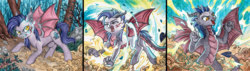 Size: 3846x1092 | Tagged: safe, artist:red-watercolor, oc, oc only, oc:dawn sentry, bat pony, dragon, hybrid, pony, bat wings, blood, claws, cloud, dragon tail, dragon wings, dragonified, fangs, female, forest, growling, horns, mare, screaming, solo, species swap, tail, transformation, wings