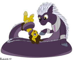Size: 1478x1200 | Tagged: safe, artist:rubiont, oc, oc:praetura amethyst, oc:terra, lamia, original species, pony, subterranean pony, coils, cute, gay, holding a pony, male, simple background, size difference, squish, tail, tail wrap, transformation, transparent background, upside down