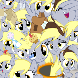 Size: 6000x6000   Tagged: safe, artist:luckreza8, derpy hooves, pegasus, pony, clothes, confused, female, happy, hat, letter, lidded eyes, multeity, paper bag, party hat, portal, sad, unstoppable force of derp, wallpaper