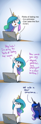 Size: 1200x3600 | Tagged: safe, artist:anticular, princess celestia, princess luna, alicorn, pony, ask sunshine and moonbeams, annoyed, banana, bananalestia, burn, comic, computer, concentrating, dating, duo, female, food, gradient background, jewelry, mare, regalia, royal sisters, savage, teasing, tol, tongue out, unamused