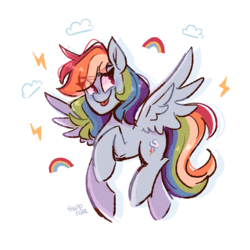 Size: 1280x1280 | Tagged: safe, artist:thwiprose, rainbow dash, pegasus, pony, :p, cloud, cute, dashabetes, eye clipping through hair, eyebrows, eyebrows visible through hair, female, lightning, mare, no pupils, rainbow, simple background, solo, spread wings, tongue out, white background, wings