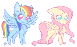 Size: 1280x787 | Tagged: safe, artist:erkythehero23, fluttershy, rainbow dash, pegasus, pony, cheek fluff, chest fluff, cute, dashabetes, duo, ear fluff, female, mare, no pupils, shyabetes, simple background, spread wings, transparent background, wings