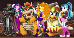 Size: 1664x848 | Tagged: safe, artist:diegator007, artist:mit-boy, artist:mixiepie, artist:vg805smashbros, adagio dazzle, aria blaze, sonata dusk, human, equestria girls, barely eqg related, bowser, crossover, ganondorf, king dedede, kirby, legend of zelda: twilight princess, nintendo, super mario bros., super smash bros., the dazzlings, the legend of zelda