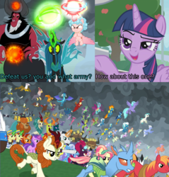 Size: 1920x2007 | Tagged: 2 4 6 greaaat, alicorn, alicornified, amethyst star, apple, autumn blaze, awesome, big macintosh, billy (dragon), blaze, cap, carapace (character), chancellor neighsay, changedling, changeling, chief thunderhooves, clothes, clump, comic, cozycorn, cozy glow, cropped, crystal pony, dragon, edit, edited screencap, endgame, equestria assemble, everycreature, everyone is here, everypony, evil grin, fence, final battle, firelight, fizzlepop berrytwist, flam, fleetfoot, flim, food, fume, gabby, garble, gilda, glowing horn, grampa gruff, greta, griffon, grin, hat, hippogriff, horn, king thorax, kirin, lemon hearts, little strongheart, lord tirek, lyra heartstrings, magic, minuette, moondancer, night light, outdoors, party favor, pharynx, pointing, powerful, prince pharynx, prince rutherford, princess ember, queen chrysalis, race swap, rain shine, ruby love, safe, scarlet heart, screencap, screencap comic, seaspray, sky beak, slasher smile, smiling, smug, smuglight sparkle, soarin', sparkler, spear (dragon), spiracle, spitfire, spoiler:s09e15, spoiler:s09e24, spoiler:s09e25, stellar flare, sunburst, surprise, tempest shadow, terramar, the ending of the end, thorax, tree, trio, trixie, twilight sparkle, twilight sparkle (alicorn), twilight velvet, ultimate chrysalis, uniform, wind waker (character), wonderbolts uniform, zecora
