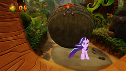 Size: 1280x720 | Tagged: safe, edit, starlight glimmer, pony, unicorn, the ending of the end, spoiler:s09e24, spoiler:s09e25, badass, boulder, crash bandicoot, crash bandicoot n sane trilogy, female, mare, starlight glimmer in places she shouldn't be