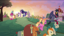 Size: 1920x1080 | Tagged: safe, edit, edited screencap, screencap, applejack, fluttershy, gallop j. fry, georgia (character), luster dawn, pinkie pie, rainbow dash, rarity, river song (character), spike, twilight sparkle, yelena, alicorn, dragon, earth pony, griffon, kirin, pegasus, pony, unicorn, yak, the last problem, spoiler:s09e26, cape, clothes, crown, ethereal mane, eyes closed, flower, flower in hair, gigachad spike, granny smith's scarf, happy, jacket, jewelry, lens flare, mane seven, mane six, nose piercing, nose ring, older, older applejack, older fluttershy, older mane 6, older mane 7, older pinkie pie, older rainbow dash, older rarity, older spike, older twilight, piercing, pigtails, princess twilight 2.0, quadrupedal, regalia, removed eyebag edit, rubber duck, smiling, sunset, teddy bear, twilight sparkle (alicorn), winged spike