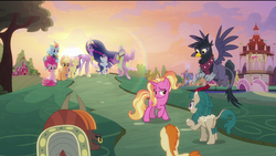 Size: 1920x1080 | Tagged: safe, edit, edited screencap, screencap, applejack, fluttershy, gallop j. fry, georgia (character), luster dawn, pinkie pie, rainbow dash, rarity, river song (character), spike, twilight sparkle, yelena, alicorn, dragon, earth pony, griffon, kirin, pegasus, pony, unicorn, yak, the last problem, spoiler:s09e26, barn, cape, castle, clothes, ethereal mane, eyes closed, flower, flower in hair, gigachad spike, granny smith's scarf, jacket, lens flare, lidded eyes, mane seven, mane six, nose piercing, nose ring, older, older applejack, older fluttershy, older gallop j. fry, older pinkie pie, older rainbow dash, older rarity, older spike, older twilight, out of context, piercing, ponyville, princess twilight 2.0, quadrupedal, removed eyebag edit, smiling, sunset, sweet apple acres, twilight sparkle (alicorn), waving, winged spike