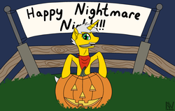 Size: 2550x1624   Tagged: safe, artist:nightwind-arts, oc, oc only, oc:razorwire, pony, unicorn, fallout equestria, bandana, banner, female, fence, halloween, holiday, jack-o-lantern, knife, mare, pumpkin, raider, solo, unicorn oc