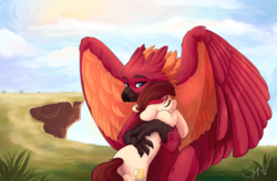 Size: 2874x1885 | Tagged: artist:survya, classical hippogriff, earth pony, hippogriff, hug, oc, oc:appleale, oc:arcus flamefeather, oc only, pony, safe, wholesome