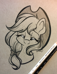 Size: 2670x3444 | Tagged: safe, artist:emberslament, applejack, earth pony, pony, blushing, bow, colored pencil drawing, colored pencils, cowboy hat, cute, eyes closed, female, freckles, hair bow, happy, hat, high res, jackabetes, mare, photo, smiling, solo, traditional art