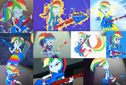 Size: 1714x1150 | Tagged: safe, editor:dashiewashiemlp, screencap, rainbow dash, equestria girls, equestria girls series, friendship through the ages, guitar centered, legend of everfree, rainbow rocks, spring breakdown, spoiler:eqg series (season 2), all good (song), awesome as i want to be, better than ever, clothes, collage, guitar, legend you were meant to be, musical instrument, rock, welcome to the show