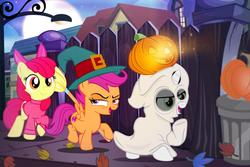 Size: 1280x854 | Tagged: safe, artist:pixelkitties, apple bloom, scootaloo, sweetie belle, earth pony, ghost, pegasus, pony, unicorn, bedsheet ghost, clothes, costume, cutie mark crusaders, fence, ghost costume, halloween, halloween costume, hat, holiday, jack-o-lantern, leaves, nightmare night, pumpkin, streetlight, witch costume, witch hat