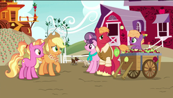 Size: 1920x1080 | Tagged: apple, apple family, applejack, aunt and nephew, big macintosh, brother and sister, carrot, colt, dog, earth pony, edit, edited screencap, farm, father and son, female, foal, food, granny smith's scarf, happy, husband and wife, little mac (character), luster dawn, male, mare, mother and son, older, older applejack, older big macintosh, older sugar belle, pony, raised leg, removed eyebag edit, safe, screencap, shipping, siblings, smiling, spoiler:s09e26, stallion, straight, sugar belle, sugarmac, sweet apple acres, the last problem, unicorn, wagon