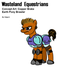 Size: 800x800 | Tagged: american football, angry, armor, artist:velgarn, concept art, earth pony, face paint, fallout equestria, female, horseshoes, knee pads, mare, oc, oc:copper brake, pen and paper rpg, pony, safe, simple background, solo, sportive gear, sports, wasteland equestrians, white background