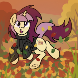 Size: 2100x2100   Tagged: safe, artist:sjart117, oc, oc only, oc:lannie lona, pony, unicorn, autumn, clothes, female, grass, happy, jumper, jumping, leaf, leaping, leaves, mare, smiling, solo, sweater, tree, turtleneck, underhoof