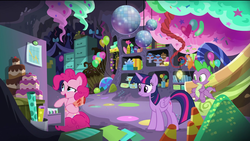 Size: 1920x1080 | Tagged: safe, screencap, pinkie pie, spike, twilight sparkle, alicorn, dragon, earth pony, pony, the last problem, spoiler:s09e26, balloon, bow, box, cake, candy, candy cane, confused, cupcake, disco ball, female, file, file cabinet, food, gift box, graph, gumdrop, happy, male, mare, mint, party cave, ribbon, smiling, traffic cone, twilight sparkle (alicorn), winged spike, wrapping paper