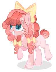 Size: 2093x2679   Tagged: safe, artist:sugaryicecreammlp, oc, earth pony, pony, bow, female, hair bow, magical lesbian spawn, mare, offspring, parent:applejack, parent:pinkie pie, parents:applepie, simple background, solo, transparent background