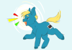 Size: 1222x838 | Tagged: safe, artist:cosmichorse, oc, oc only, oc:cinimod, earth pony, chibi, simple background, solo