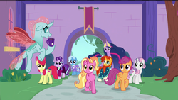 Size: 1920x1080 | Tagged: safe, edit, edited screencap, screencap, apple bloom, luster dawn, ocellus, scootaloo, starlight glimmer, sunburst, sweetie belle, trixie, twilight sparkle, alicorn, changedling, changeling, earth pony, pegasus, pony, unicorn, the last problem, animation error, banner, beard, blaze (coat marking), bush, cape, clothes, crown, cute, cutie mark, diatrixes, ethereal mane, facial hair, female, glimmerbetes, happy, headmare starlight, jewelry, lusterbetes, male, mare, mug, older, older apple bloom, older ocellus, older scootaloo, older starlight glimmer, older sunburst, older sweetie belle, older trixie, princess twilight 2.0, regalia, removed eyebag edit, school of friendship, smiling, socks (coat marking), stallion, suit, sunburst the bearded, the cmc's cutie marks, tree, twilight sparkle (alicorn), vine