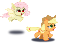 Size: 2070x1632   Tagged: safe, artist:spellboundcanvas, applejack, fluttershy, bat pony, earth pony, pony, bat ponified, chest fluff, cute, female, flutterbat, flying, freckles, mare, race swap, running, running away, shyabates, shyabetes, simple background, transparent background