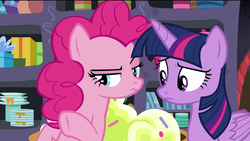 Size: 1920x1080 | Tagged: safe, screencap, pinkie pie, twilight sparkle, alicorn, earth pony, pony, the last problem, spoiler:s09e26, box, confused, cupcake, female, food, gift box, mare, party cave, plate, suspicious, twilight sparkle (alicorn)