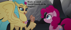 Size: 1920x804 | Tagged: safe, edit, edited screencap, screencap, pinkie pie, princess skystar, my little pony: the movie, cute, diapinkes, jewelry, necklace, pun, skyabetes, speech, that seapony sure does love shells