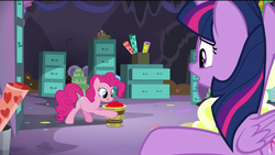 Size: 1920x1080 | Tagged: safe, screencap, pinkie pie, twilight sparkle, alicorn, earth pony, pony, the last problem, spoiler:s09e26, bucket, drawer, female, file, file cabinet, happy, horn, licking, licking lips, mare, party cave, sad, smiling, tongue out, twilight sparkle (alicorn), worried, wrapping paper