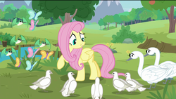Size: 1920x1080 | Tagged: safe, screencap, fluttershy, bird, butterfly, dove, hummingbird, pegasus, pony, swan, the last problem, spoiler:s09e26, animal, cute, eloise, female, grass, grin, happy, hubert, josephine, mare, outdoors, pond, raised hoof, river, shyabetes, smiling, tree, wide eyes