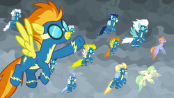 Size: 1920x1080 | Tagged: blaze, classical hippogriff, clothes, cloud, female, fleetfoot, flying, goggles, high winds, hippogriff, lightning streak, male, mare, misty fly, pegasus, pony, safe, screencap, silver lining, silver zoom, soarin', spitfire, spoiler:s09e25, stallion, surprise, the ending of the end, uniform, unnamed hippogriff, wind waker (character), wonderbolts, wonderbolts uniform