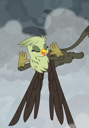Size: 737x1060 | Tagged: safe, screencap, gemma, griffon, the ending of the end, background griffon, cropped, female, flying, mocking, raspberry, tongue out
