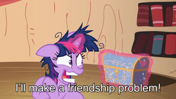 Size: 1920x1080 | Tagged: safe, screencap, twilight sparkle, pony, lesson zero, season 2, caption, crazy face, crazy pony, faic, friendship problem, golden oaks library, messy mane, solo, subtitles, teeth, twilight snapple