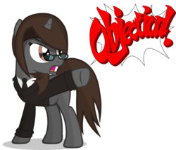 Size: 3500x3000 | Tagged: safe, artist:duskyzombie, oc, oc:sonata, pony, unicorn, ace attorney, clothes, crossover, elements of justice, female, mare, objection, simple background, solo, suit, transparent background, turnabout storm