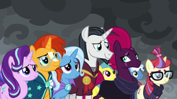 Size: 1920x1080 | Tagged: safe, screencap, chancellor neighsay, fizzlepop berrytwist, lemon hearts, moondancer, pokey pierce, starlight glimmer, sunburst, tempest shadow, trixie, pegasus, pony, unicorn, the ending of the end, spoiler:s09e24, spoiler:s09e25, broken horn, clothes, eye contact, eye scar, female, horn, looking at each other, male, mare, scar, scarf, shipping fuel, stallion