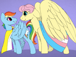 Size: 2048x1536 | Tagged: safe, artist:incendiaryboobs, pegasus, pony, cutie mark, floppy ears, gender headcanon, lgbt headcanon, looking at you, nonbinary, nonbinary pride flag, pride, pride flag, smiling, trans boy, trans stallion, transgender, transgender pride flag