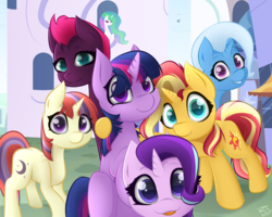 Size: 4993x4000 | Tagged: safe, artist:those kids in the corner, fizzlepop berrytwist, moondancer, princess celestia, starlight glimmer, sunset shimmer, tempest shadow, trixie, twilight sparkle, alicorn, pony, unicorn, absurd resolution, broken horn, canterlot, castle, counterparts, cute, dancerbetes, diatrixes, female, filly, filly moondancer, filly starlight glimmer, filly sunset shimmer, filly tempest shadow, filly trixie, filly twilight sparkle, glimmerbetes, group photo, happy, horn, hug, looking at you, magical sextet, photo, shimmerbetes, smiling, speedpaint, speedpaint available, store, tempestbetes, tongue out, twiabetes, twilight's counterparts, unicorn master race, unicorn twilight, younger