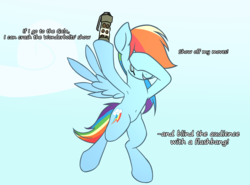 Size: 4096x3036 | Tagged: safe, artist:wenni, rainbow dash, pegasus, pony, series:pony re-watch, the ticket master, armpits, belly button, dialogue, female, flashbang, flying, grenade, mare, parody, scene parody, sky, solo, this will end in tears