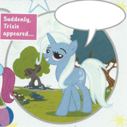 Size: 345x345 | Tagged: advice, bronybait, comic, cropped, edit, female, grin, magazine, magazine scan, mare, motivational, photo, pony, safe, smiling, smirk, solo, speech bubble, template, trixie, trixie n'abandonne jamais !, unicorn, united kingdom