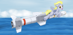 Size: 4000x1966 | Tagged: agm-84 harpoon/slam, artist:buckweiser, dark comedy, derpy hooves, looking at you, missile, safe, solo, the missile knows where it is, this will end in death, this will end in tears, this will end in tears and/or death, this will not end well, windswept mane