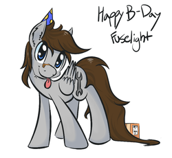Size: 805x739 | Tagged: safe, artist:helhoof, oc, oc:fuselight, pegasus, pony, ask fuselight, hat, male, party hat, solo, stallion, tongue out