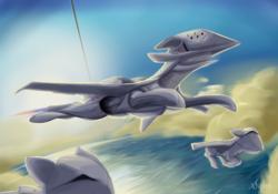Size: 5000x3500 | Tagged: safe, artist:andromailus, original species, plane pony, pony, ace combat, ace combat 7, adf-11f raven, drone, ocean, plane