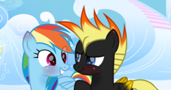 Size: 4329x2281 | Tagged: safe, artist:rainbow15s, rainbow dash, pegasus, pony, blushing, crossover, crossover shipping, cute, dashabetes, johnny test, ponified, shipping