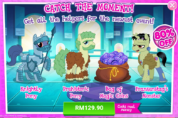 Size: 1035x687 | Tagged: safe, idw, frankenstag's monster, earth pony, pony, unicorn, advertisement, costs real money, frankenstein's monster, gameloft, idw showified, knight, official, prehistoric, sale